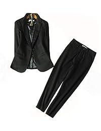 ファションヤ スーツ レディース パンツスーツ ビジネススーツ OLスーツ ブラック 2点セット アンクル丈 入学式 ママ おしゃれ リクルート ストレッチ 洗える 大きいサイズ 無地
