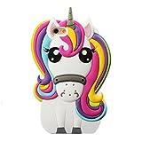 ★ ユニコーン iPhone 7plus ケース、 【落の馬】 3d ユニコーン 虹色の馬 シリコーンバック・カバー・ケース (iPhone 7Plus)