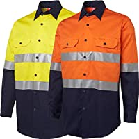 BIG BEE HI VIS Safety Shirt Cotton Drill Work WEAR Long Sleeve 3M Reflective Vents
