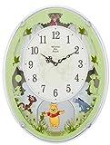 ディズニー くまのプーさん 掛け時計 電波時計 からくり時計 メロディ付き 白 リズム時計 M523 4MN523MC03