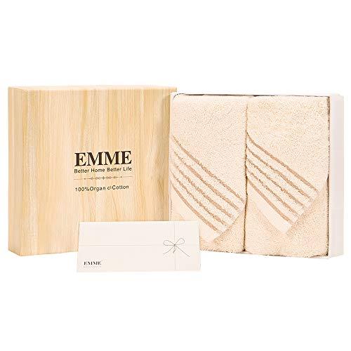 EMME 有機綿フェイス タオル ギフトセットオーガニックコットン100% 無漂白剤 敏感肌適用 ロングパイル 吸水性 母の日 敬老の日 プレゼント引き出物 出産祝い 内祝い ギフト ベージュ 2枚