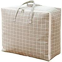 ふとん収納袋 掛け布団衣類ダッフルバッグ大容量収納綿とリネン素材 (60*47*30cm)