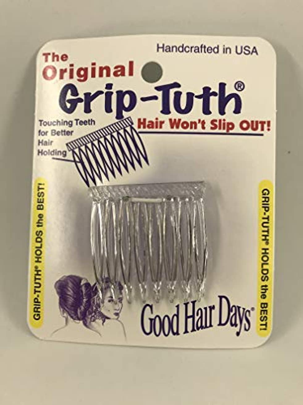 保守的クック傭兵Good Hair Days Grip Tuth Hair Combs 40072 Set of 2, Clear 1 1/2