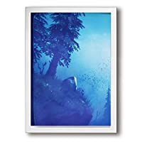 ホワイトサン 森景色 ブルー フォトフレーム A4 フレーム 壁掛け 壁アート 装飾画 壁飾り インテリア 部屋飾り アート ファション 装飾 枠付き 壁絵 現代壁の絵 絵 プレゼント ポスター アートフレーム パネル