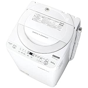 シャープ 全自動洗濯機 ステンレス穴なし槽 6kg ホワイト系 ES-GE6B-W