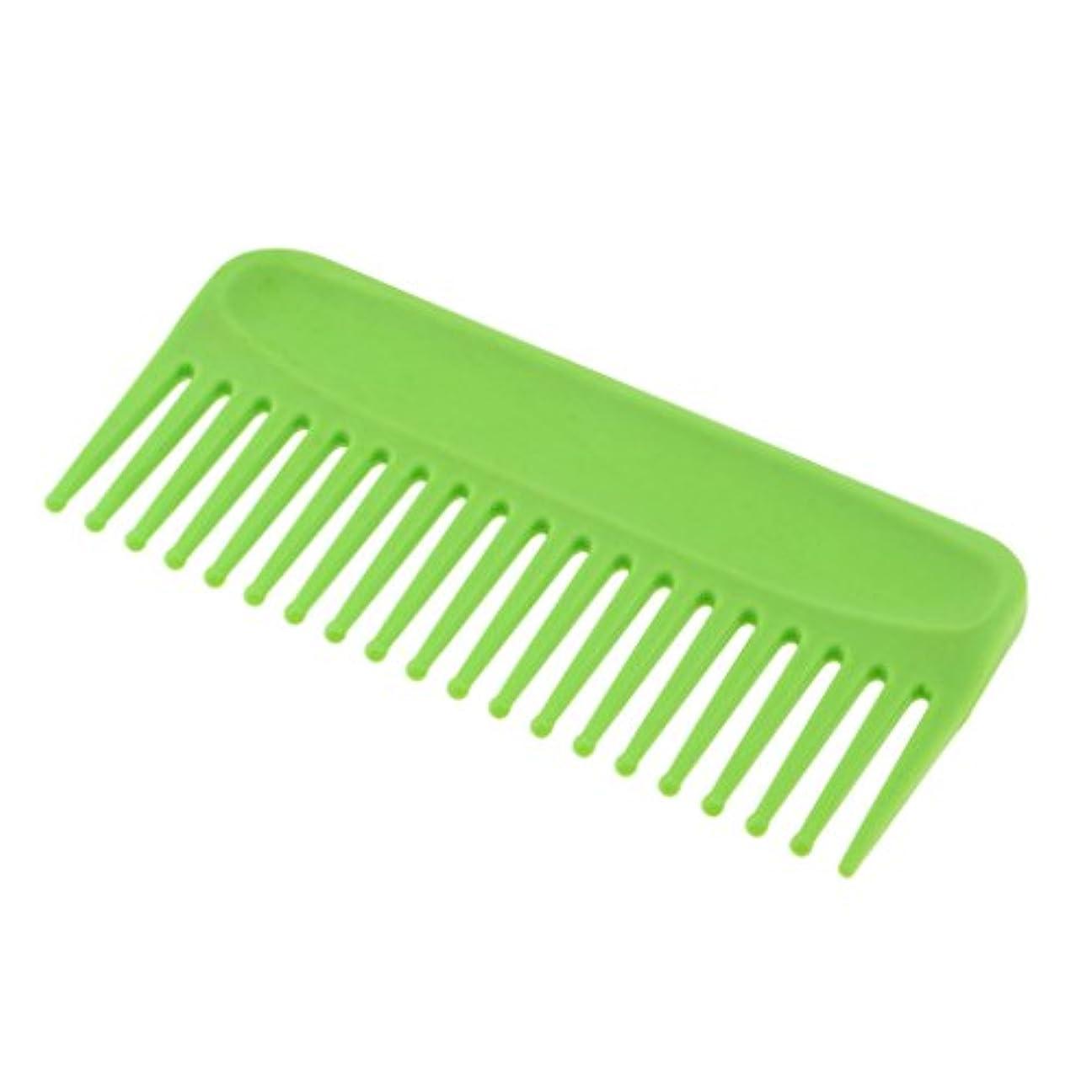 一緒にエレベーターダイヤモンドToygogo サロンヘアケアのもつれを解く髪の櫛、ヘアブラシの反静的な広い歯の櫛のポケット6 インイン - 緑