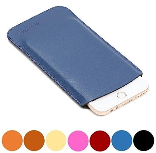 V.M 5.5 スマホケース スリップイン レザー 5.5インチ スマホカバー スリーブ ポーチ 高品質 皮 携帯ケース 薄 軽 スリップインケース 革 携帯カバー ブリーフケース インナーケース スリーブケース ソフトケース マット ネイビー iPhoneケース7 Plus 青 艶消
