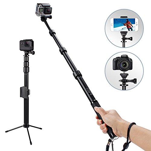 一脚兼三脚自撮り棒 GoPro Hero5などのアクションカメラ対応アルミ製セルカ棒 伸縮自在 防水