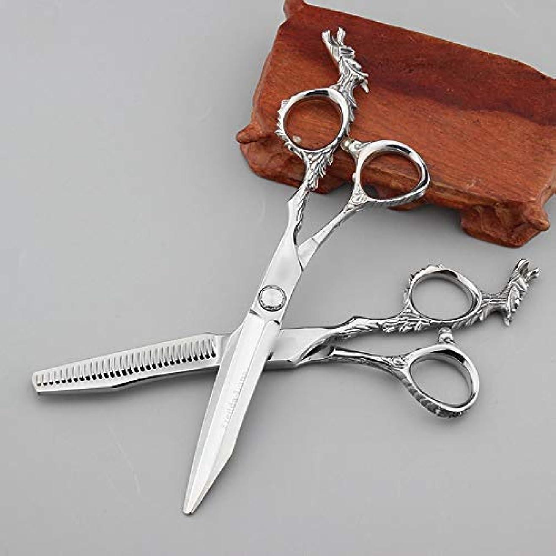 教えて知覚できるミルGoodsok-jp 6インチのハイエンドの理髪はさみ理髪はさみ、平らな歯のはさみ、家族の理髪セット (色 : Silver)