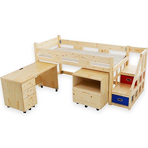 LOWYA (ロウヤ) ロフトベッド システムベッド 子供用ベッド 収納ラック付 デスク付 3点セット ナチュラル...