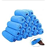 Shoe Covers Disposable -100 Pack(50 Pairs) Disposable Shoe & Boot Covers Waterproof Slip Resistant Shoe Booties (Large Size - up to US Men's 11 & US Women's 12) (Blue)