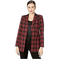 Vince Camuto Womens 9169505 Holiday Tartan Notch Collar Bl Long Sleeves Blazer - Red