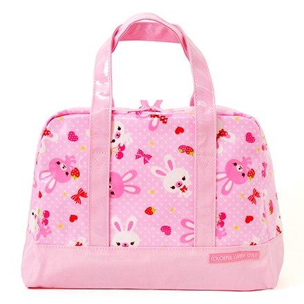 おしゃれKidsのセミボストン(ファスナー付きプールバッグ) ハッピーうさちゃん仲良しうさちゃん(水玉ピンク) 日本製 N2907200