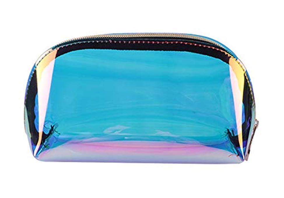 ポンド暴力的な温かいホーム朵 メイクポーチ 化粧バッグ オーロラカラー レーザー 透明バッグ 防水 収納携帯用 おしゃれ コスメポーチ たっぷり収納 旅行 便利 超軽量 (小さい)