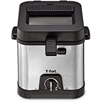 T-fal FF492D Stainless Steel 1.2-Liter Oil Capacity Adjustable Temperature Mini Deep Fryer with Removable Lid, 0.66-Pound, Silver by T-fal