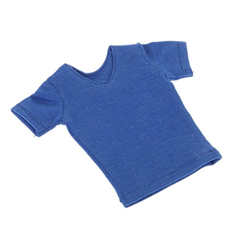 ノーブランド品  綿製 1/6 半袖Tシャツ 男性の人形 フィギュア用 飾り プレゼント 3色選べ - 青