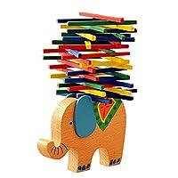 Cozyswan バランス積み木 モンテッソーリ 知育玩具 バランスゲーム 木製 おもちゃ 面白い トレーニング お誕生日 (象ベース)