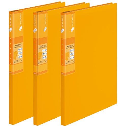 プラス スーパーエコノミー クリア―ファイル+ A4 20ポケット イエロー 3冊入 75870×3