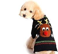 犬のための犬のセーターペット服クリスマスのトナカイ YANW (色 : ブラック, サイズ さいず : Xs xs)