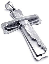 [テメゴ ジュエリー]TEMEGO Jewelry メンズステンレススチールヴィンテージペンダントゴシッククロス主の祈りのネックレス、シルバー[インポート]