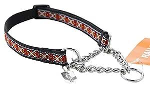 【中型犬用しつけ首輪】アミット しつけに便利おしゃれなハーフチェーンカラー 02 Mサイズ 色:108 フォークロア