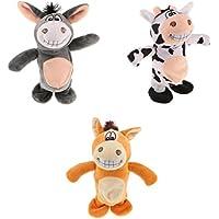 Baoblaze 3個  ぬいぐるみ 人形 話す 動物玩具 サウンド レコーダー ロバ 牛 馬モデル 可愛い
