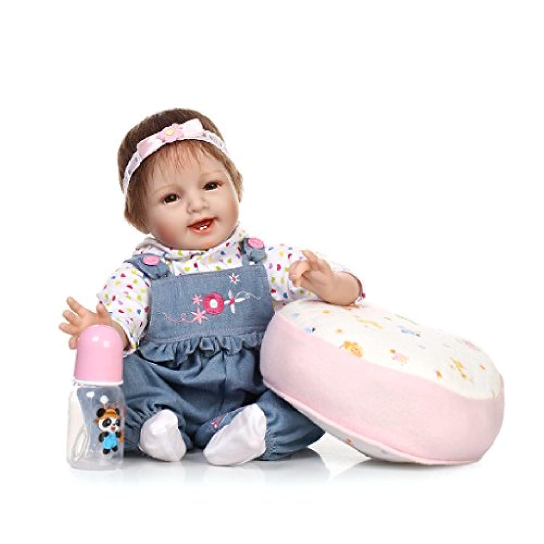 NPKDOLL リボーンベビードールソフトシミュレーションシリコーンビニール22インチの55センチメートル磁気口リアルなかわいい子供のおもちゃスマイルアクリル目でピンクの枕 Reborn Baby Doll A1JP
