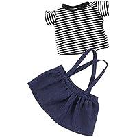 SONONIA かわいい ストライプ  Tシャツ &  ショルダーストラップ   ミニスカート  セット  18インチ アメリカンガールドール適用