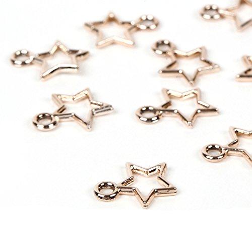 【京珠堂】アクセサリーパーツ オープンスター 星 シャンパンゴールド チャーム 25個 K