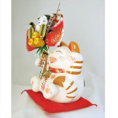 開運熊手をもった招き猫「白雲笑助」中