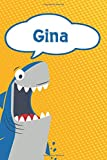 """Gina: Personalized Shark Handwriting Practice Paper for Kids notebook 120 pages 6""""x9"""""""