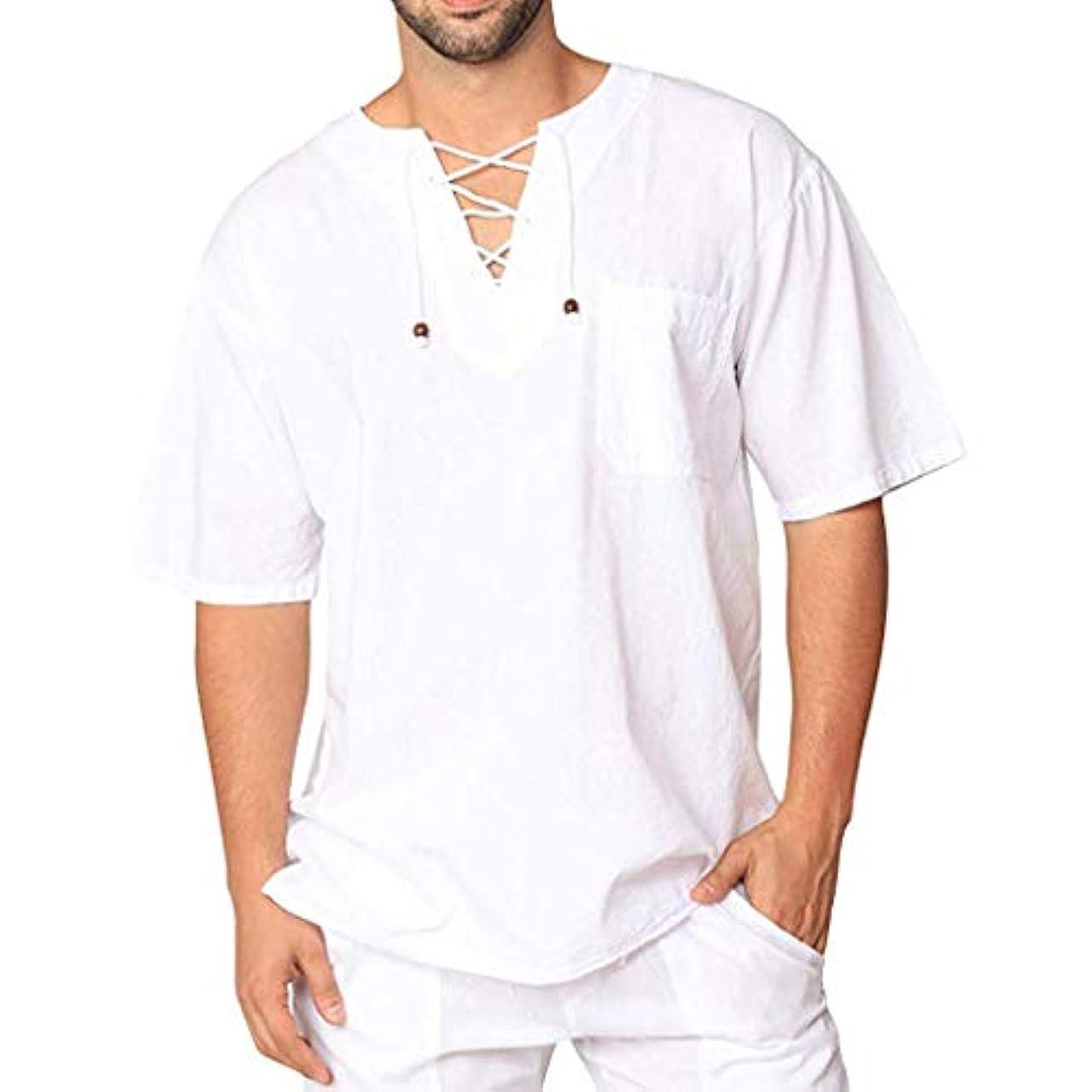 測定費やす創傷Wyntroy メンズシャツ この夏人気のシャツ スウェット 綿麻服 薄手 男性 ゆったり トップス 春夏シャツ カットソー レジャーシャツ 無地 Vネックボタン 半袖 Tシャツ 友達へのプレゼント ファッショントップ サマートップ