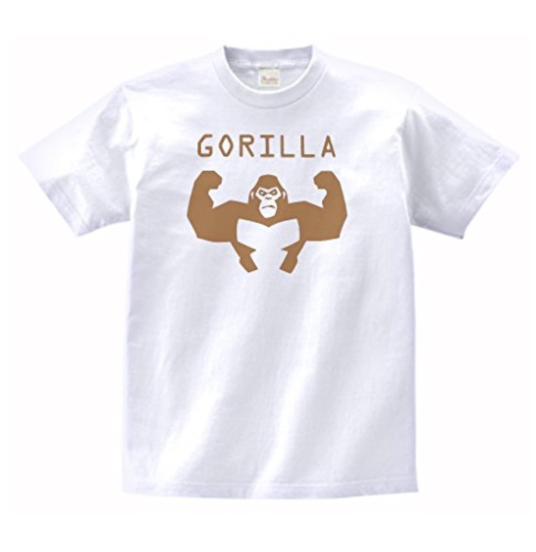 消去政治的ルーチン【ノーブランド品】 おもしろ デザイン GORILLA ゴリラ Tシャツ 白 MLサイズ