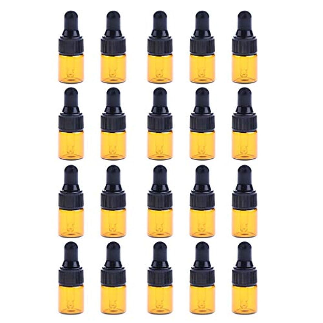 20個 2ml ドロッパーボトル エッセンシャルオイル ミニサイズ 詰め替え可 ガラス スポイトボトル