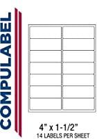 Compulabel 312052 White Address Labels for Laser and Inkjet Printers,4 x 1 1/2 Inch,Permanent Adhesive,14 per Sheet,100 Sheets per Carton [並行輸入品]
