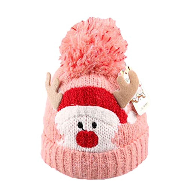 BESTOYARD クリスマス 暖かい 冬 ニット ウール ビーニー ハット クリスマス キュート 鹿 キャップ 赤ちゃん 子供 女の子 男の子用 (ピンク)