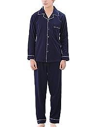 [シャルフィール] パジャマ 長袖 上下 セット 寝間着 シャツ 前開き シンプル メンズ