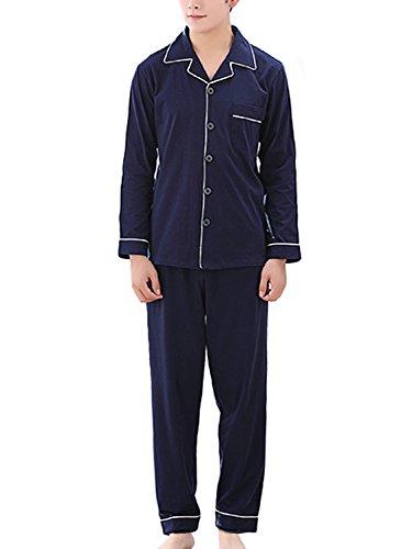 【シャルフィール】 パジャマ 長袖 上下 セット 寝間着 シャツ 前開き シンプル メンズ (XXXL, ネイビー)