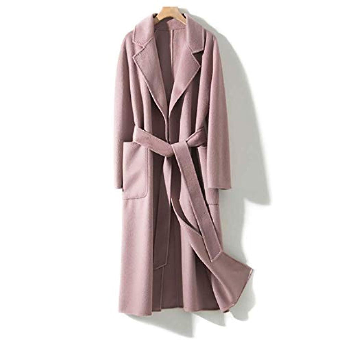 木製刺繍クリスチャン両面カシミアコート、波状両面カシミヤコート女性の手縫い針女性のジャケット女性のコート女性のウインドブレーカージャケット,ピンク,M