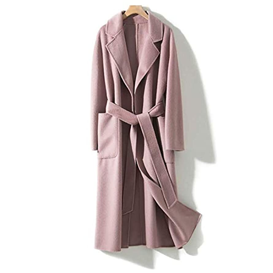 時慣性立方体両面カシミアコート、波状両面カシミヤコート女性の手縫い針女性のジャケット女性のコート女性のウインドブレーカージャケット,ピンク,M