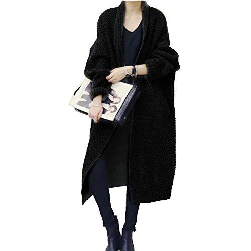 G-raphy レディース カーディガン セーター ニット 秋冬 ゆたり アリクリ ロング コート 韓国風 フリーサイズ (ブラック)