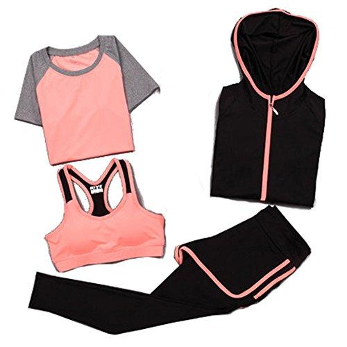 CXYP レディース スポーツウェア フィットネス ランニング トレーニング ヨガウェア 半袖Tシャツ ブラ ロングタイツ ショートパンツ パーカー 4点セット 吸汗 速乾 耐震 パッド付き 交換可能 (M, オレンジ)
