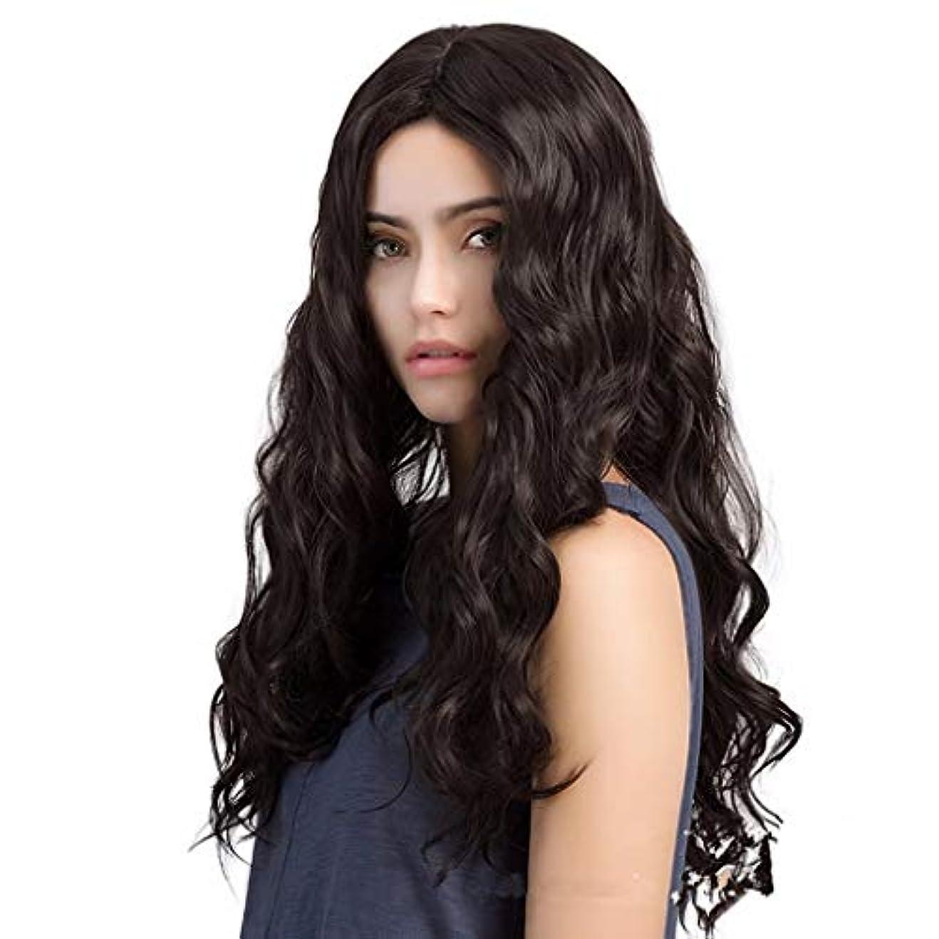 世界的に手がかり原子かつらヨーロッパとアメリカの女性の長い巻き毛の大きな波シミュレーションヘアアクセサリーファッション高温シルクウィッグ28インチ