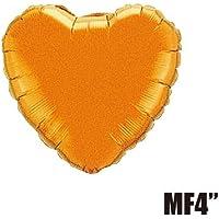 ハート型無地アルミ風船(マイクロフォイルバルーン) 色:オレンジ 4インチ(約10cm) 風船スティック付き(エアー充填済)