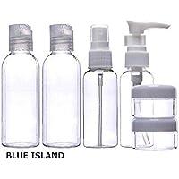 BLUE ISLAND 携帯用 液体 ボトル カップ ~6個セットSKE#81113~ 保存 プラスチック 容器 ディスペンサー / シャンプー リンス スキンケア 化粧品 小分けボトル / 出先 海外 旅行旅行 出張 トラベル セット 収納 旅行 整理 用品 アイテム グッズ