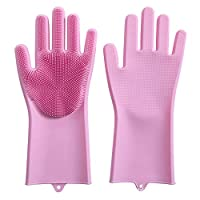 Silicone dishwashing gloves kitchen multi-function gloves thick waterproof household gloves,Pink
