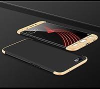 """OPPO A77 ケース, GUNAHAO 3 in 1 360°全面保護 ハードPC 軽量 薄い 指紋防止 耐衝撃 滑り止め おしゃれ 高級感 スマートフォン 保護ケース ために OPPO A77 5.5"""" (ブラック+ゴールド)"""