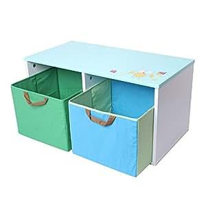 Labebe 子供用収納箱ブルー (フクロウ)