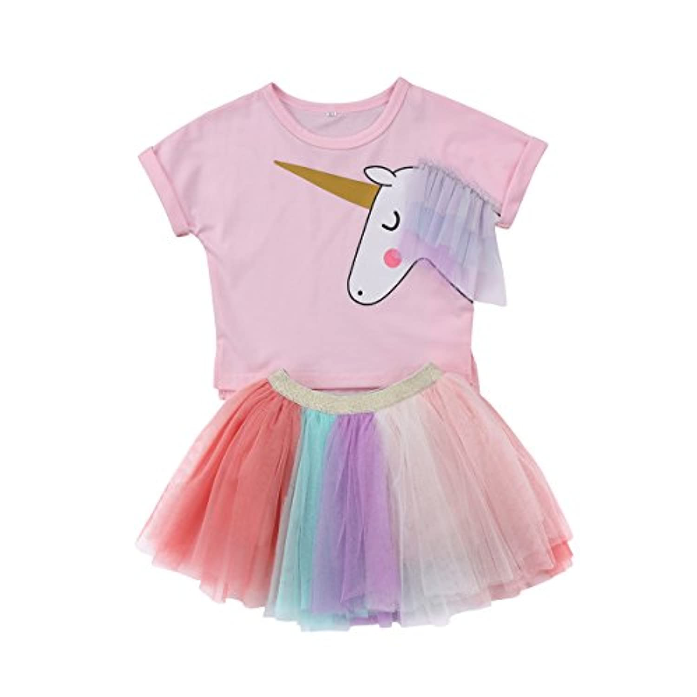 0-5歳 子供服 女の子 ユニコーン T-シャツ ガーゼスカート 上下二点セット コットン パーティー カジュアル (80)