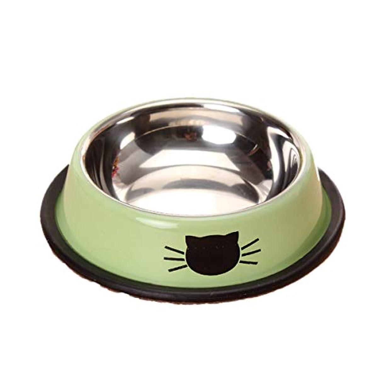 Xian ドッグボウル、ステンレススチールペットボウル、厚く滑り止め猫ボウル、ドッグボウルペットフードボウル、キャットパピーシングルボウル食器ライスボウル、グリーン、オレンジ、2色 Easy to Clean Non-Skid Bowls for Dogs (Color : Green)